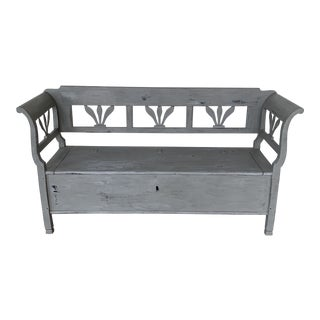 Vintage Swedish Rustic Paint Bench For Sale