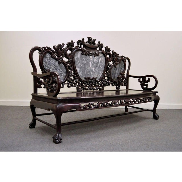 Vintage Chinese Japanese Dragon Carved Mahogany Marble Back Parlor Sofa - Image 3 of 10