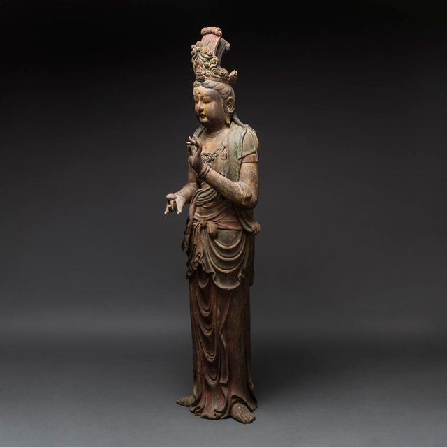 Pair of Lacquered Wooden Sculptures of Bodhisattvas For Sale In Los Angeles - Image 6 of 8