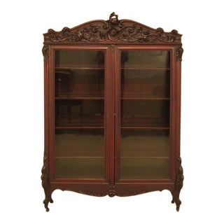 Rj Horner Victorian Carved Mahogany 2 Door Bookcase For Sale