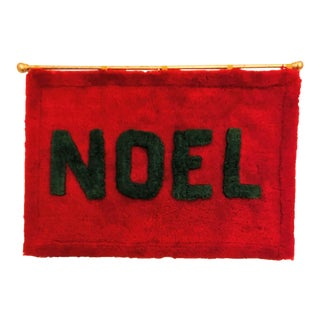 Vintage Homemade Textile Red & Green Christmas Decor Noel Tapestry For Sale