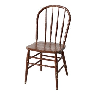 Vintage Spindle Back Wood Chair For Sale