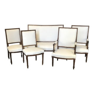 Early 20th Century French Louis XVI Carved Walnut Parlor or Salon Set - Set of 5 For Sale