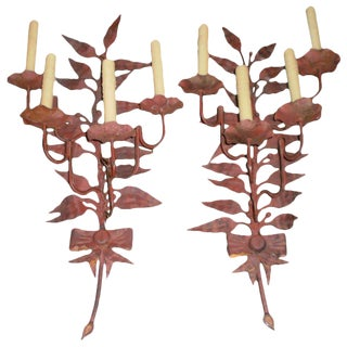 1940s Large Italian Patinated Iron Sconces - a Pair For Sale