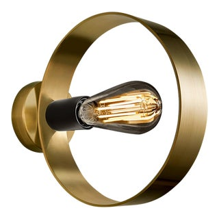 Halo Brushed Brass Wall Light For Sale