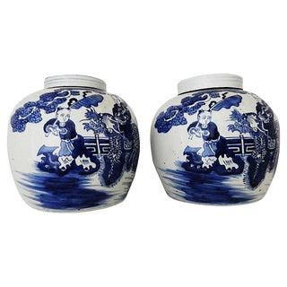 "Old Chinoiserie Blue & White Porcelain Ginger Jars 11.5"" H For Sale"