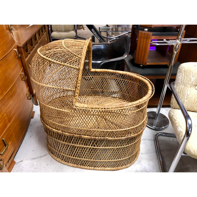 1970s 1970s Vintage Boho Chic Rattan Bassinet For Sale - Image 5 of 6