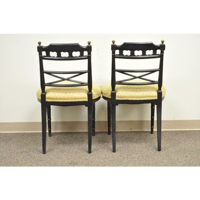 Asian Pair of Antique Chinoiserie Oriental Japanned Black Painted Pagoda Side Chairs For Sale - Image 3 of 11