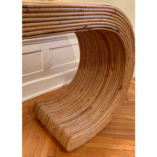 Boho Chic 1970s Boho Chic Rattan Waterfall Console Table For Sale - Image 3 of 6