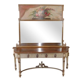 Antique French Walnut Painted Adams Sideboard W/ Trumeau Mirror M Tartaglia 1956