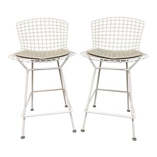 Knoll Studio Harry Bertoia White Bar Stools - a Pair For Sale