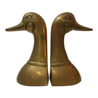 Vintage Solid Brass Duck Bookends - a Pair For Sale