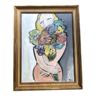 Original Contemporary Stewart Ross Modernist Female Nude Painting Vintage Frame For Sale