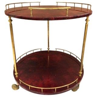 Aldo Tura Goatskin Bar or Serving Cart For Sale