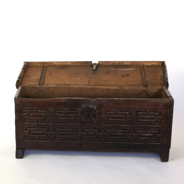 Baroque Baroque Period Spanish Walnut Coffer With Geometric Carved Front and Original Hardware; Spain, Circa 1650. For Sale - Image 3 of 10