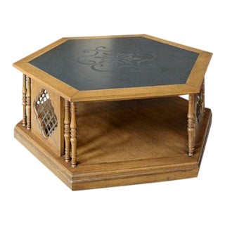 Vintage 1960's Moroccan Style Traditional Hexagonal Coffee Table With Slate Topper For Sale