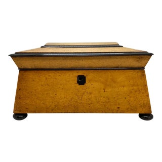 Bird's-Eye Maple and Ebony Sewing Box of Architectural Form, English, Circa 1820 For Sale