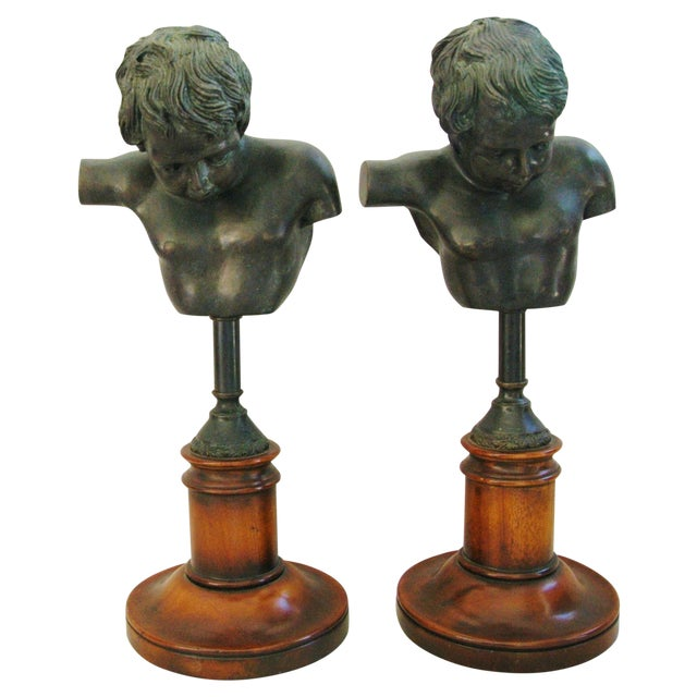 1940's English Bronze Busts With Bases - A Pair - Image 1 of 11
