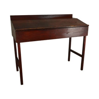 Antique 19th Century Primitive Red Painted Standing School Masters Desk For Sale