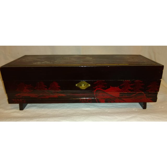 Antique French Black Lacquered Jewelry Musical Box For Sale - Image 10 of 10