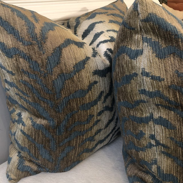 """Jade Tiger Chenille 22"""" Pillows-A Pair For Sale - Image 4 of 7"""