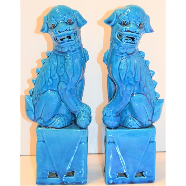 1980s Chinese Turquoise Glazed Large Foo Dog Figurines - a Pair For Sale - Image 9 of 9