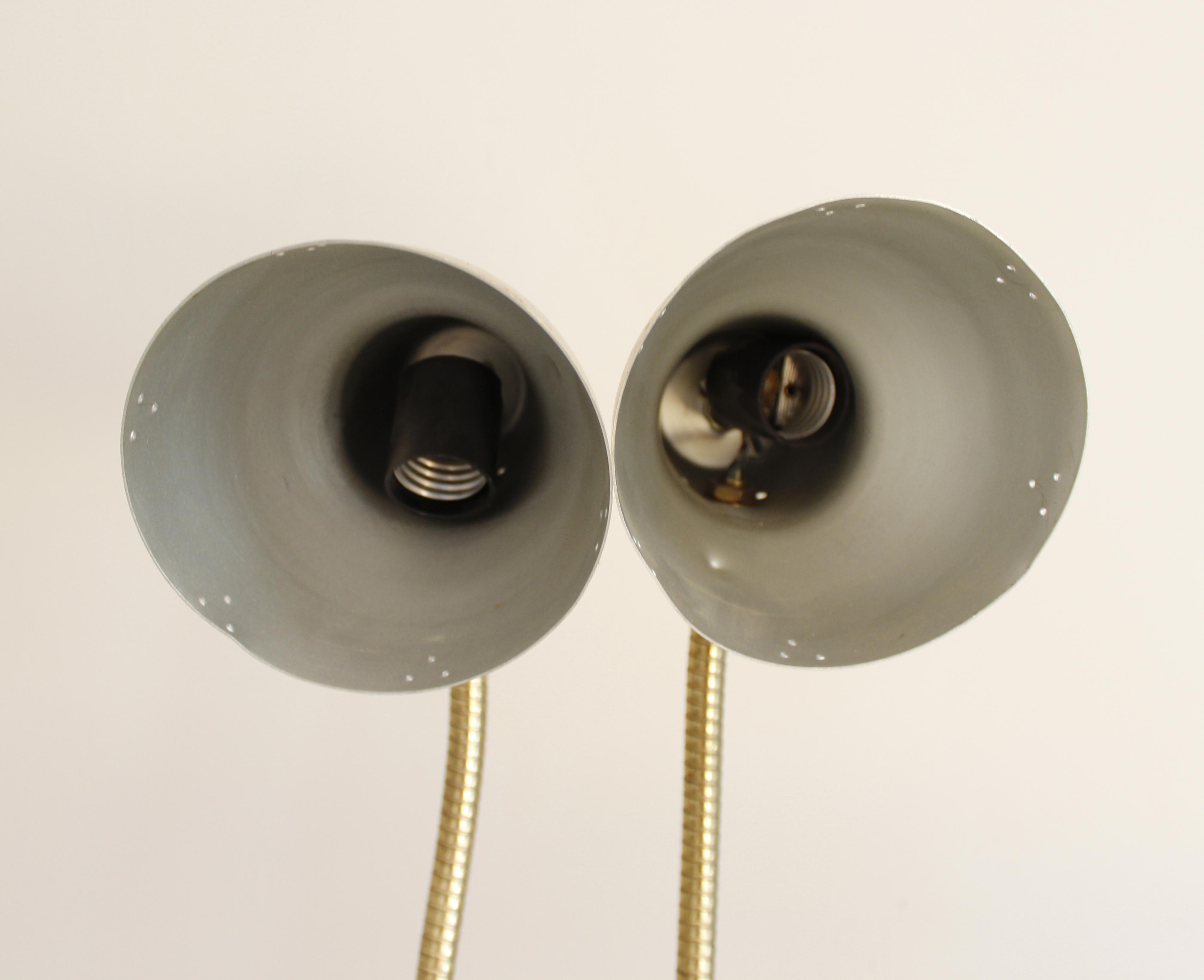 Vintage Brass Gooseneck Desk Lamp Task Lamp Double Headed Mid