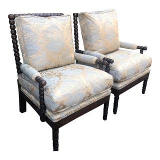 Nancy Corzine Chinoiserie Silk Damask Spindle Club Chairs - a Pair For Sale