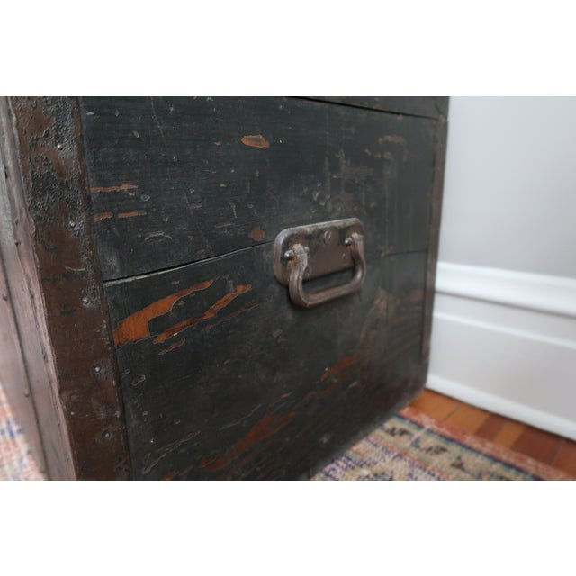 Dometop Steamer Trunk Chest With Metal Strapping and Iron Handles For Sale - Image 4 of 11