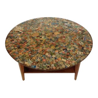 1970s Mid-Century Modern Lane Furniture Mailing Stamps Coffee Table For Sale