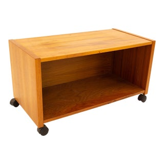Mid Century Teak Rolling Record Storage Media Console For Sale