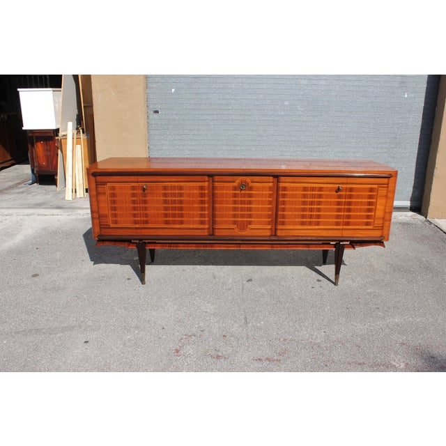 Bronze French Art Deco Macassar Ebony Sideboard Credenza For Sale - Image 7 of 13