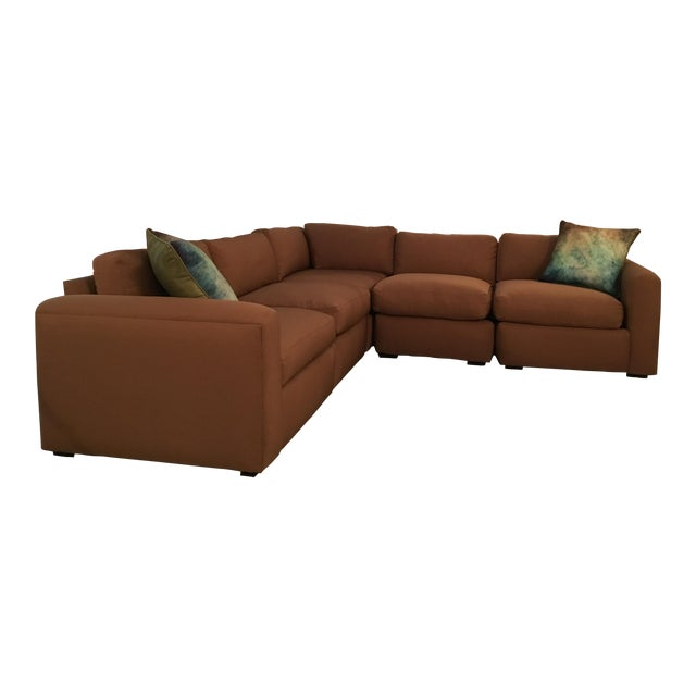 Vintage Reupholstered Milo Baughman Five-Piece Sectional Sofa by Thayer Coggin - Image 1 of 7