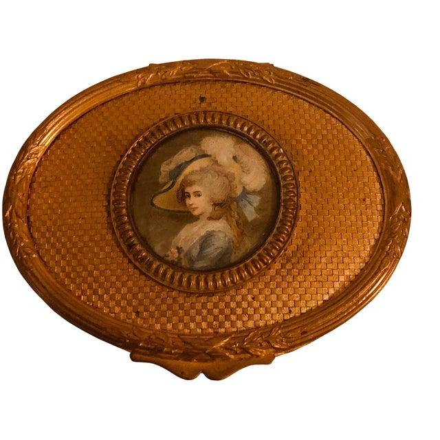 Antique French Bronze Dore Portrait Box For Sale - Image 4 of 7