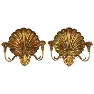 Pair of Italian Louis XVI Style Palladio Two-Arm Gilt Shell Sconces For Sale
