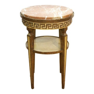 Neoclassical Revival Style Side Table With Marble Top For Sale