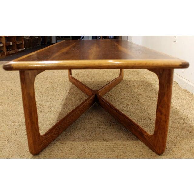 Lane Perception Mid-Century Oak Walnut X-Base Coffee Table For Sale In Philadelphia - Image 6 of 11