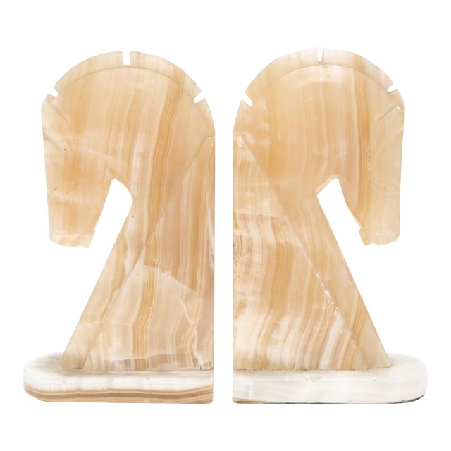 Oversize Large Vintage Marble Horse Head Bookends - A Pair For Sale