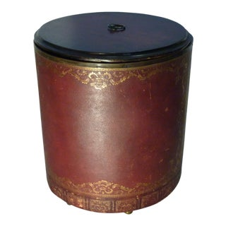 Early 20th Century Leather Covered Waste Paper Basket For Sale