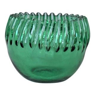 Vintage Green Ribbon Edge Bowl For Sale