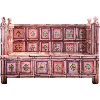 Hand-Painted Pink Wooden Storage Bench For Sale