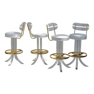 Set of 4 Hill Manufacturers Lucite & Brass Swivel Bar Stools Mid-Century Modern For Sale