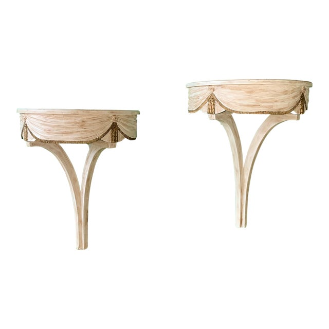 Pair of Wall Mounted Shelves Attributed to Dorothy Draper For Sale