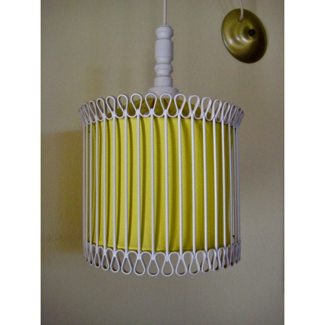 Mid-Century Modern Mid-Century Modern White and Yellow Iron Chandelier For Sale - Image 3 of 11