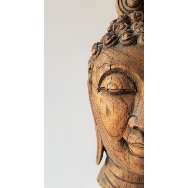 Brown Vintage Hand Carved Wooden Buddha Head For Sale - Image 8 of 9