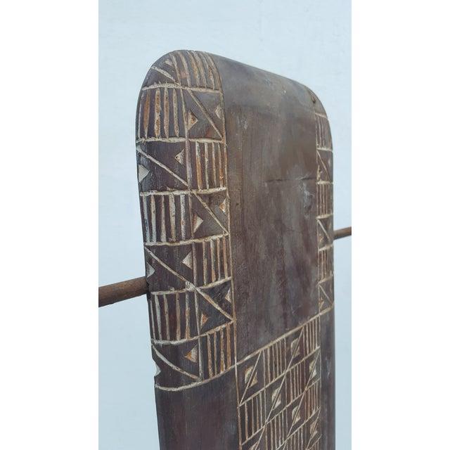 Metal Vintage Metal & Carved Wood Panels Room Divider Screen For Sale - Image 7 of 9