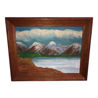 Mid 20th Century Landscape Oil on Canvas Board Painting For Sale