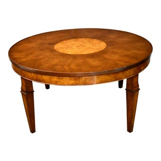 Vintage Old Colony Regency Style Inlaid Lazy Susan Cocktail Table For Sale