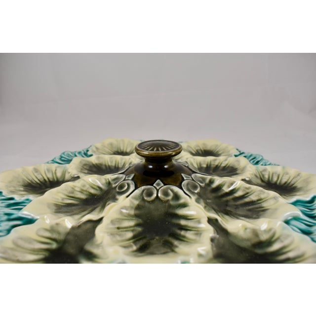 Orchies French Majolica Handled Oyster Plate - Image 7 of 9