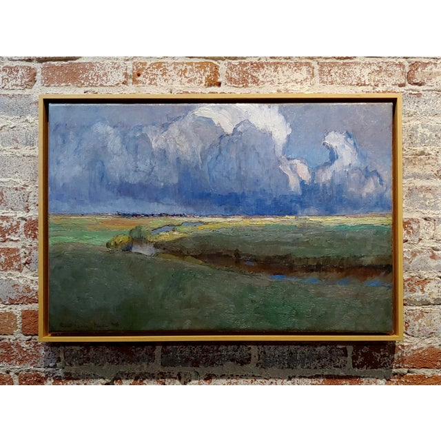 """Richard Kaiser """"River Running Through a Countryside Landscape"""" Oil Painting, 19th Century For Sale - Image 12 of 12"""